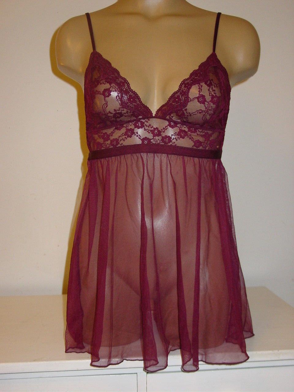 4952b35dbdc Victorias Secret wine burgandy lace sheer mesh nightie babydoll  chemise-M-defect -  9.46