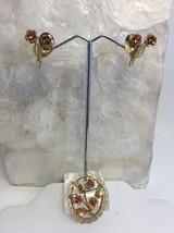 Vintage Krementz Gold Overlay Rose Pin Screwback Earring Set Rose Yellow - $33.80