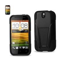 REIKO HTC ONE SV HYBRID HEAVY DUTY CASE WITH KICKSTAND IN BLACK - $7.11