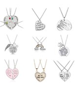2 PCS Best Friends Necklace Jewelry Heart Engraved Word Pendant Couples ... - $10.33