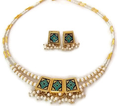 Indian Bridal Necklace Reversible Gold Plated Blue Maroon White Pearl Jewelry 2S - $14.95