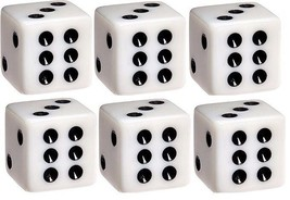 6x JUMBO Dice Six Sided D6 25mm Standard Square Edged Die White With Bla... - $9.99