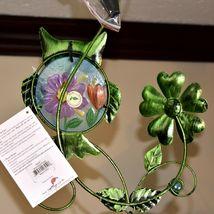 Painted Metal Owl & Blue Glass Bottle Garden Hanging Hummingbird Nectar Feeder image 7