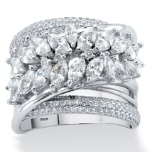 4.18 TCW Marquise-Cut Cubic Zirconia Platinum over Sterling Silver Cockt... - $36.82