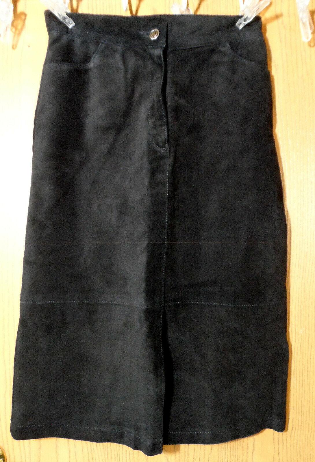 SKOTTS SUEDE Washable Leather Skirt sz 4 Black Midi Straight pencil fit Canadian