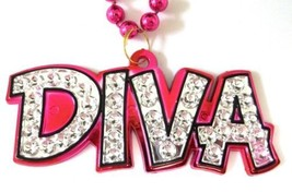 Diva Pendant Mardi Gras Necklace Beads Bead in Pink Silver - $5.64 CAD