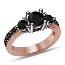 Sz6-9 Jewelry Black Diamond 14K Rose Gold Fn 925 Sterling Silver Engagem... - $69.98