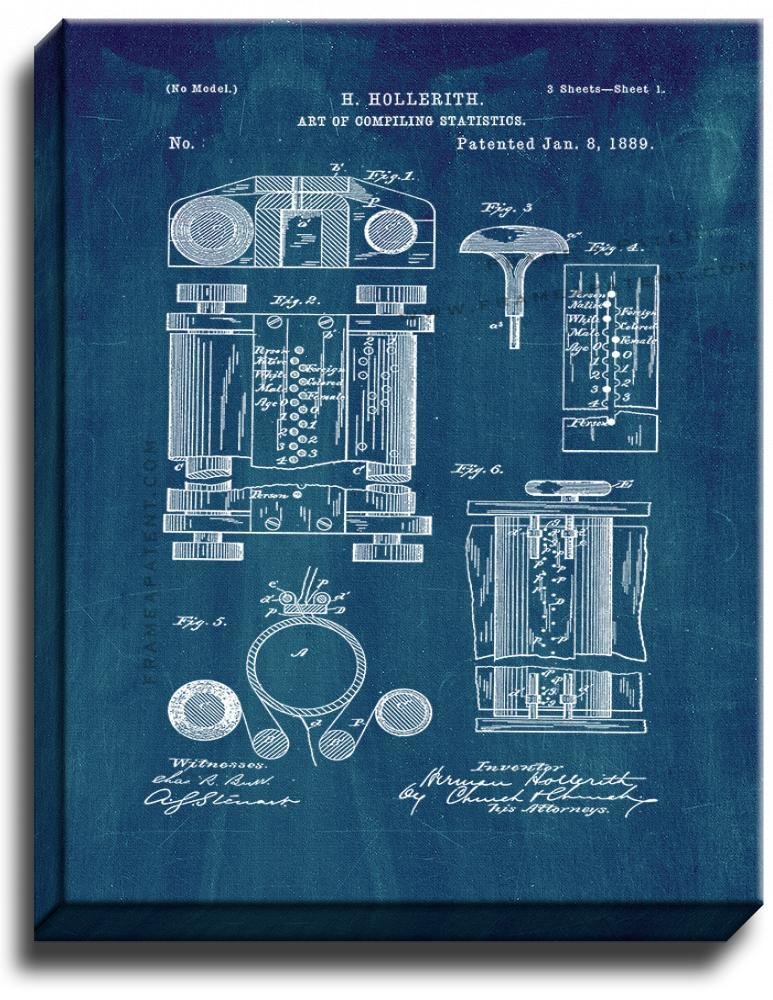 Primary image for Art Of Compiling Statistics Patent Print Midnight Blue on Canvas
