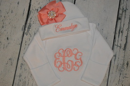 Personalized Newborn Girl Gown and Hat with Bow in Coral Monogrammed Baby Set - $35.99