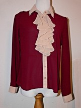 ALICE MOON COLLECTION Burgundy RUFFLE BUTTON SHIRT Size M th - $15.99