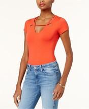 GUESS Womens Wren Cutout Neck Bodysuit Shirt Poppy Red Orange Size XL $69 - NWT - $19.59