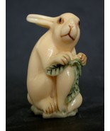 Japanese ivory color bone  netsuke -Rabbit with Daikon,White Turnip - $29.65
