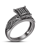 Solitaire With Accents Ring Round Cut Diamond 14k Black Gold Plated 925 ... - $87.99