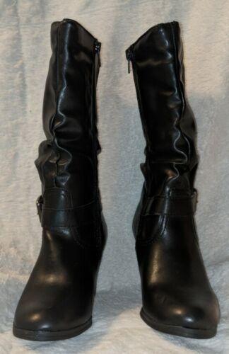 Arizona Jeans Black Mid Calf Boots With Slim Heel Size 6M