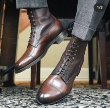 Men's Ankle High Brown Cap Toe Leather & Pebbled Leather Lace Up Boots F... - €138,86 EUR+