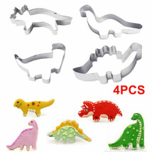 4PCS Stainless Steel Dinosaur Cookies Cutter Biscuit Pastry Cake Mould UK - $5.63
