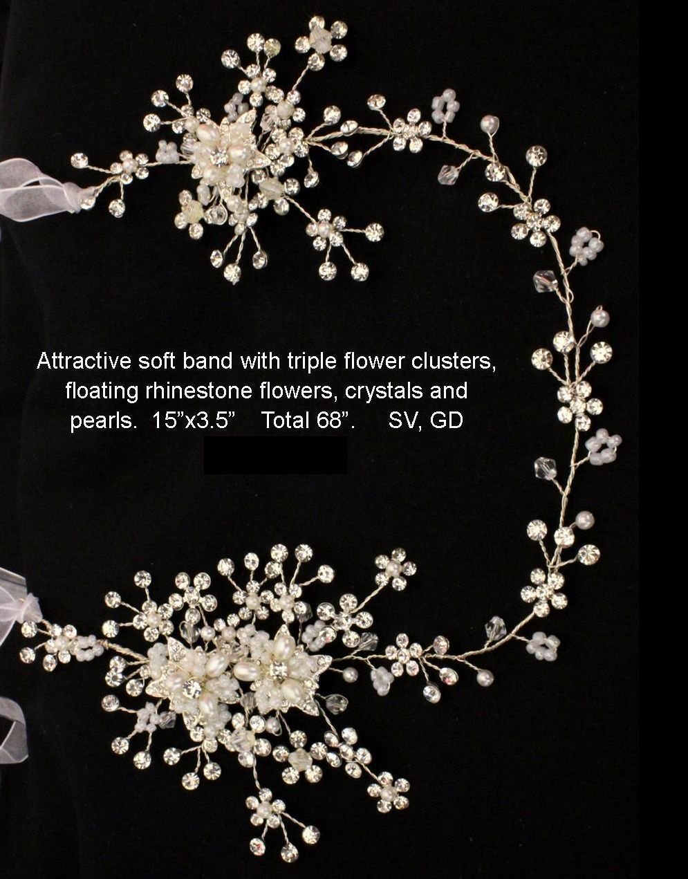 Primary image for Silver Gold Rhinestone Floral Bridal Prom Quinceanera Ribbon Headband Wired Vine