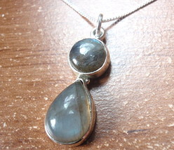 Labradorite Teardrop and Round 925 Sterling Silver Necklace Corona Sun J... - $22.76