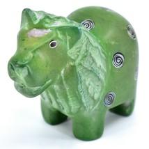 Tabaka Chigware Hand Carved Kisii Soapstone Green Lion Figurine Made in Kenya image 2