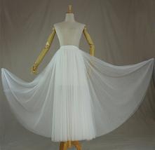 WHITE Tulle Midi Skirt A Line High Waisted Tulle Skirt Wedding Skirt image 2