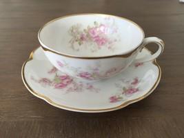Haviland Limoges Schleiger 228i Flat Tea Cup & Saucer Set Blank 19 Pink Roses - $75.00