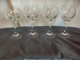 4 Vintage Gorham Crystal Wine Goblets Sonja Cut Panels Hard To Find NICE - $123.75
