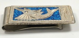 "Vtg Sterling Silver Money Clip Marlin Fish Lapis Inlay 2.5"" Taxco Mexico... - $79.99"