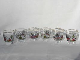 6 Vint Libbey Glass Treasure Island Shot Glasses Sailing Ship, Compass, ... - $19.99
