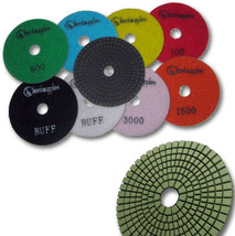"KENT 9 pcs WET Premium Quality 4"" Assorted Grits, Buffs, 3mm Thick Diamond Pads - $77.42"