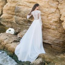 Imported European White/Ivory Lace Long Sleeve Elegant Chiffon Satin Wedding Gow image 2