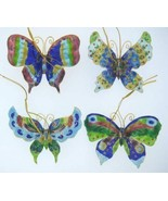 Kubla Cloisonne Butterfly ornaments. Set of 4pc. Nice   4394 - $29.95