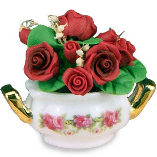 DOLLHOUSE 1.398/5 Porcelain Bowl w Red Roses Reutter Roseband Miniature - $17.34