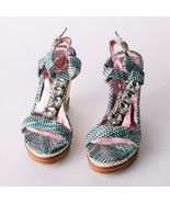 New Women's Passions  Strappy Rhinestones Wedge Sandals Blue - $29.99