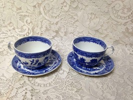 Antique, Rare, Ridgway Blue Willow 4pc Cups and Saucers - $56.95