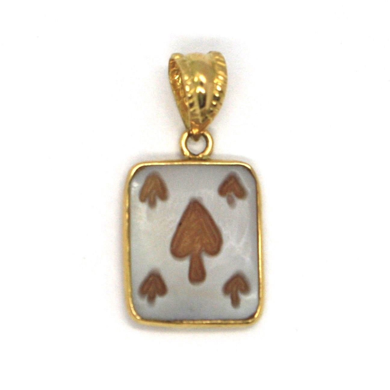 18K YELLOW GOLD PENDANT, SQUARE 5 SPADES CARD CAMEO, FINELY HANDMADE IN ITALY