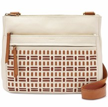 New Fossil Women's Corey Large Leather Crossbody Bag Vanilla - $174.23