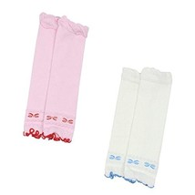 Set of 2 Cute Bowknot Baby Leg Wamers Cotton Toddler Leg Guards,1-5Y,Pink&White image 2