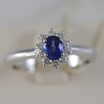 18K WHITE GOLD FLOWER RING, DIAMOND & OVAL BLUE SAPPHIRE, 0.65 MADE IN ITALY image 1