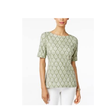 Karen Scott Womens NEW Printed Boat-Neck Top Olive Green Size Small $29 - $14.84