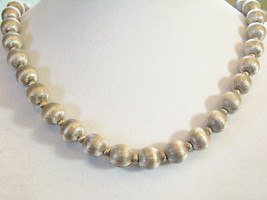 Frosty Silver Satin Metal Beads Chain Choker Necklace Vintage Classic El... - $29.69
