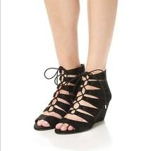 $150 SAM EDELMAN Santina Ghillie Wedge Black Suede Sandals  8 M - $62.70