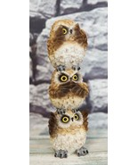 Stacked See Hear Speak No Evil Wise Acrobatic Fat Brown Owls Figurine Ow... - $19.99