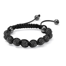 PalmBeach Jewelry Black Crystal & Glass Ball Macrame Rope Tranquility Bracelet - $19.49
