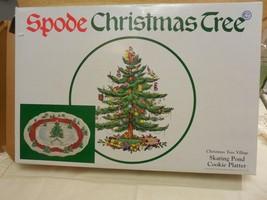 "Spode Christmas 14 1/4 x 9 1/4"" Christmas Tree Skating Pond Platter IOB - $39.59"