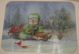 Vtg Snowman Winter Michelle Palmer Rectangular Tempered Glass Cutting Board - $18.81