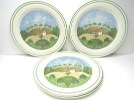 "4 VTG Sangostone 3645 Country Cottage Sango 10 3/4"" Dinner Plate Farmhou... - $26.60"