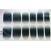 Set of 6 Stylish Bright Gradient Glittery Nail Art Stickers, Dark Green image 2