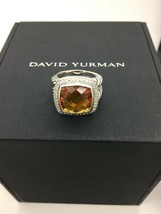 David Yurman 925 Diamonds 14 mm Citrine Albion Ring Sz 8 - $397.03
