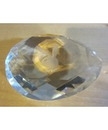 Vintage   Pear Shaped Hand Cut  Playboy Bunny Crystal Paperweight - $24.65