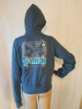 Victoria's Secret Pink University Hoodie Blue Sweatshirt Full Zip Size M... - $35.27